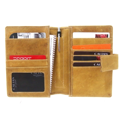 CALTAN - 男女用真皮護照夾 皮夾 卡夾 中夾 -1991ht