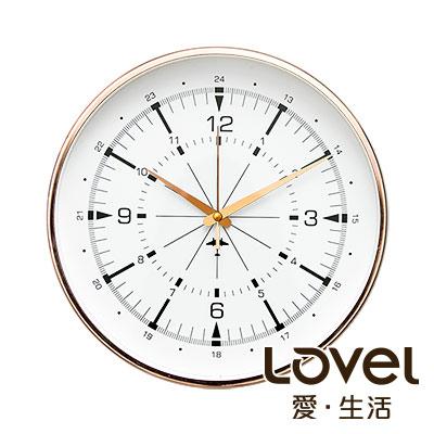 LOVEL 30cm 典雅玫瑰金框靜音時鐘-共6款