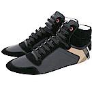 BURBERRY House 格紋拼接皮革高筒運動鞋(男鞋/黑色)