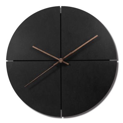12吋簡約時尚現代居家清水模日式風格餐廳客廳臥室靜音掛鐘 - 黑色
