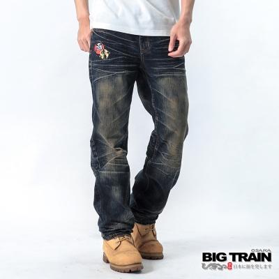 BIG TRAIN 漩渦達磨牛仔垮褲-男-深藍