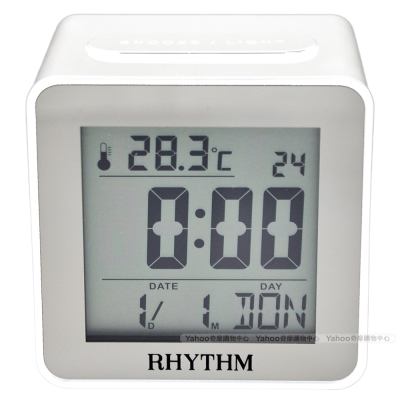 RHYTHM日本麗聲 簡約時尚LED夜燈液晶電子鬧鐘(簡約白)/ 7cm