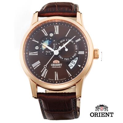 ORIENT 東方錶 SUN&MOON系列 羅馬數字日月相錶-咖啡色/42mm