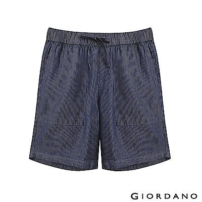 GIORDANO 女裝抽繩丹寧牛仔短褲- 81 深靛藍