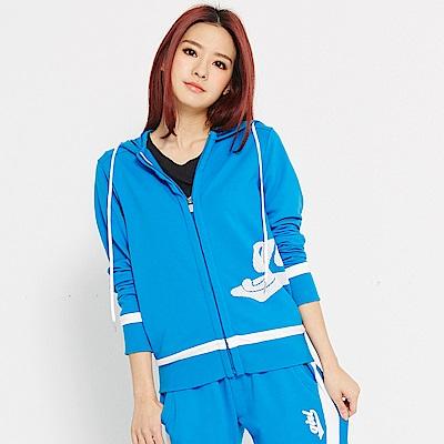 【 TOP GIRL】獨特網格印花- 吸濕排汗休閒針織連帽外套-中藍