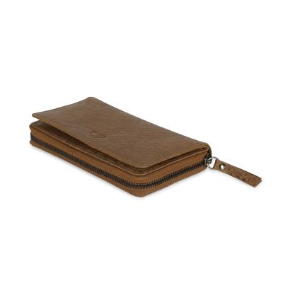 MARKBERG Bay 丹麥手工牛皮簡約側翻雙層長夾 錢包(楓葉棕)