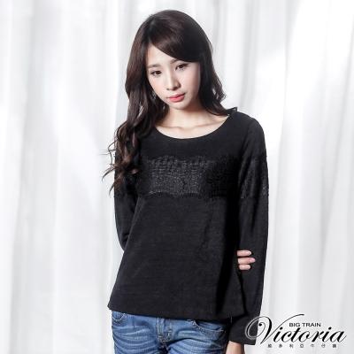 Victoria 蕾絲條剪接長袖T-女-黑色