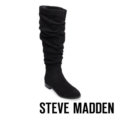 STEVE MADDEN-BEACON 麂皮摺皺及膝長靴-黑色