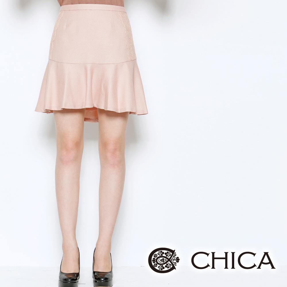 CHICA 浪漫荷葉 蕾絲配布喇叭裙(共三色)