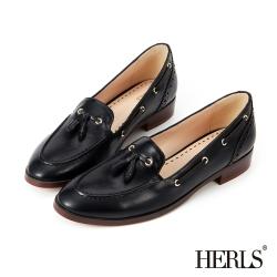 HERLS 內真皮 經典學院馬克縫流蘇樂福鞋-黑色