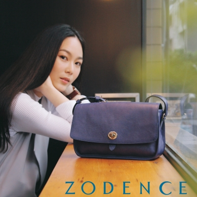 ZODENCE-真牛皮革轉釦肩背斜背翻蓋方包斜背包-大-藍