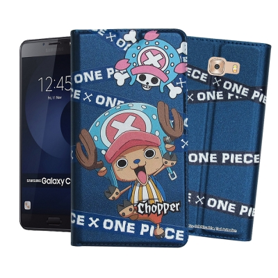 正版授權 航海王 三星 Galaxy C9 Pro 6吋彩繪磁力皮套(封鎖喬巴)