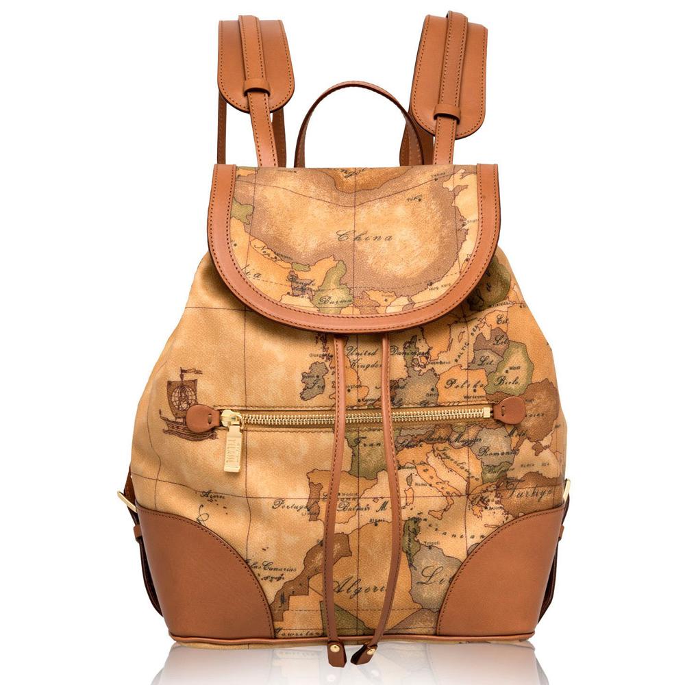 Alviero Martini 義大利地圖包 經典扣式束帶後背包-地圖黃