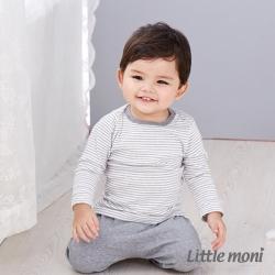 Little moni 純棉家居系列條紋上衣 灰色