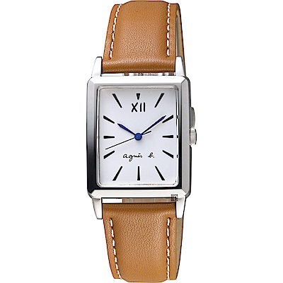 agnes b. 法國文青系列時尚手錶(BH8045X1)-白x咖啡色錶帶/25mm