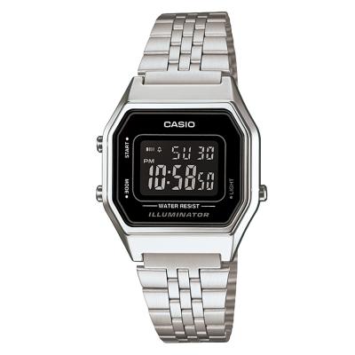 CASIO 經典復古數字型電子錶(LA-680WA-1B)-銀色x黑框黑面/28.6mm