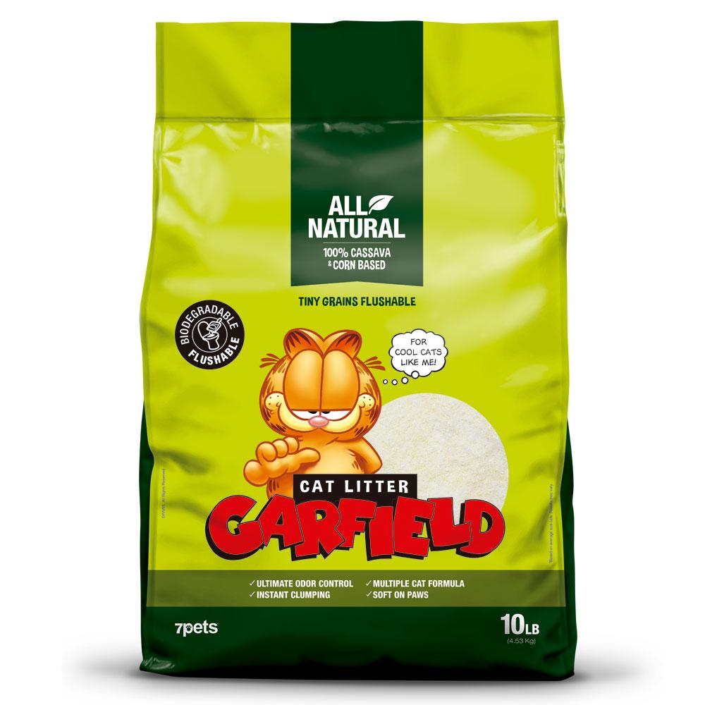 【GARFIELD加菲貓凝結貓砂】綠款10磅、小顆粒、可沖馬桶
