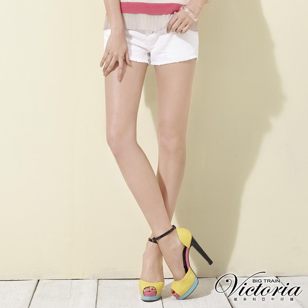Victoria 天絲棉鬚邊色染短褲-女-白