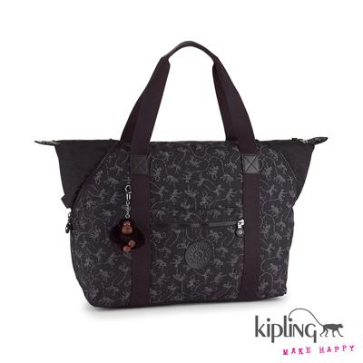 Kipling-手提包-經典猴紋黑白印花