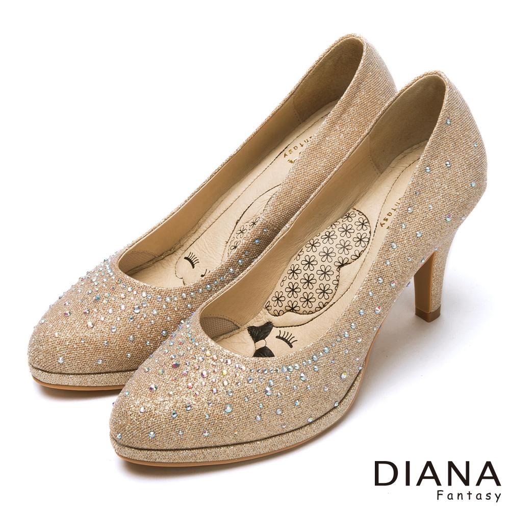 DIANA 超厚切LADY款--奢華時尚金蔥耀眼水鑽跟鞋-金