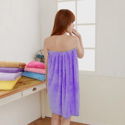 米夢家居-台灣製造 水乾乾SUMEASY開纖吸水紗浴裙(深紫)