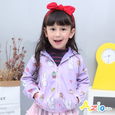 Azio Kids 童裝-連帽外套 搖粒絨兔子雲朵拉鍊風衣外套(紫)