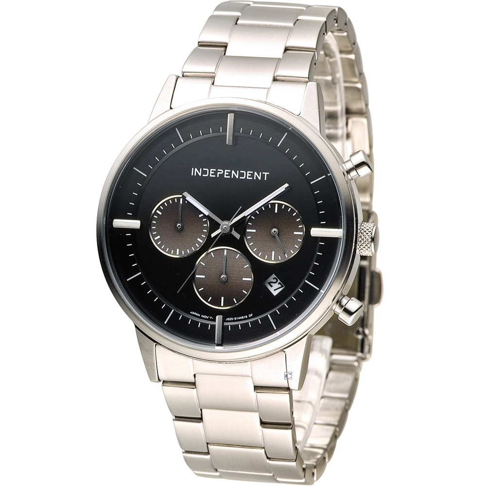 INDEPENDENT 潮流玩酷時尚計時腕錶-黑/40mm