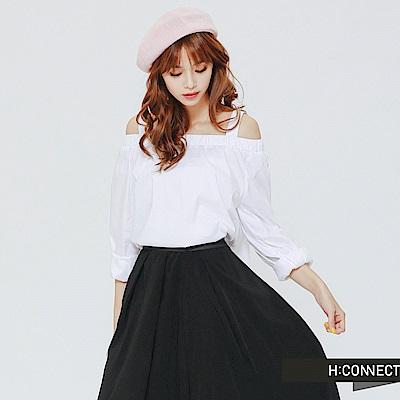 H:CONNECT 韓國品牌 女裝 -簡約平口棉質上衣-白