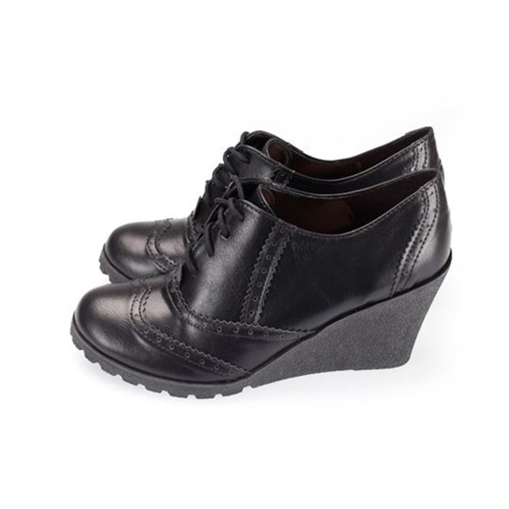 FUFA  MIT  英風牛津楔形鞋(FA79) 黑色