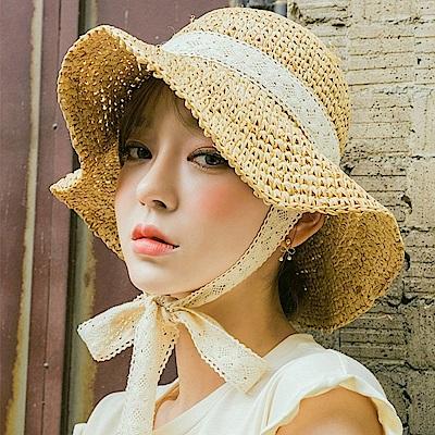 梨花HaNA 韓國洋娃娃的夏天蕾絲綁帶草帽