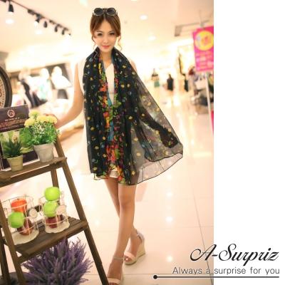 A-Surpriz 繽紛花漾巴黎紗圍巾(氣質黑)