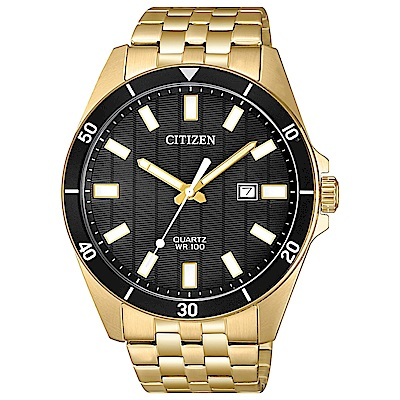 CITIZEN星辰 霸氣渾然天成鋼帶石英男錶(BI5052-59E)-黑/42mm