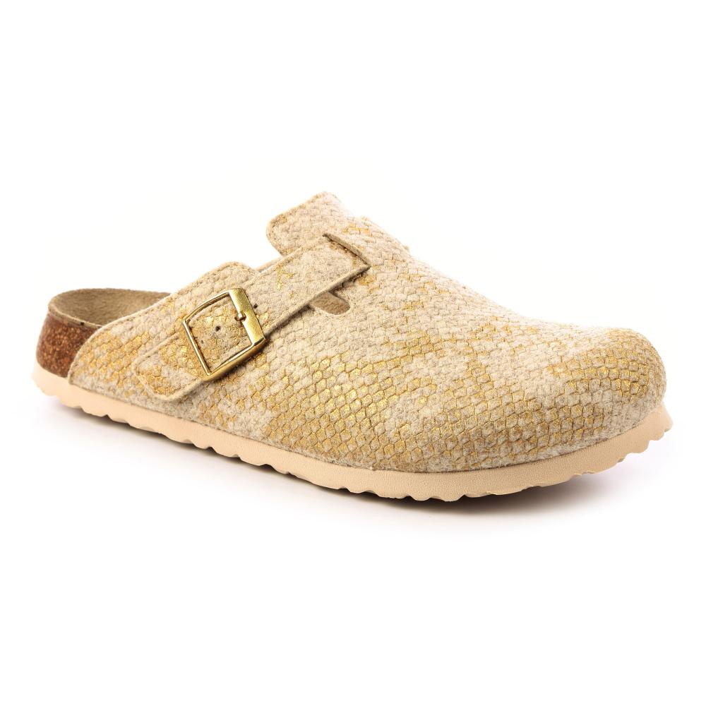 勃肯papillio 1007101。BOSTON波斯頓 包頭拖鞋(米金)