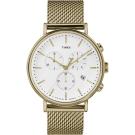 TIMEX 天美時 週末Fairfield系列 三眼計時手錶-金色鍊帶/41mm