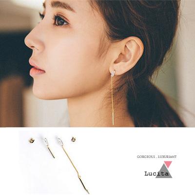 LuciTA 空運限量新品 T鑽搭配晃動幾何時尚耳環