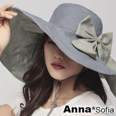 AnnaSofia-大蝶結雙面戴-超寬簷防曬遮陽帽