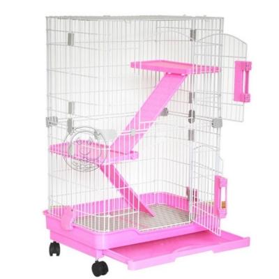 dyy》居家款滾輪可移動式大底盤貓籠附樓梯及底板(插梢款)66*45*96.5cm