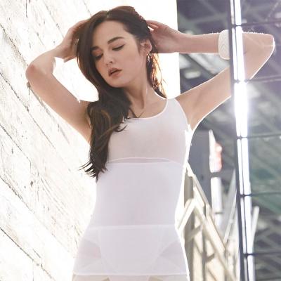 曼黛瑪璉-羽涼級‧輕鬆塑  中機能防胃凸背心(牙白)