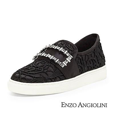 ENZO ANGIOLINI--編織方鑽休閒平底鞋-奢華黑