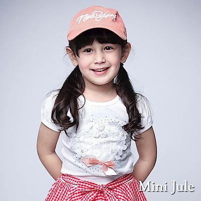 Mini Jule 童裝-上衣 花朵愛心珠珠短袖上衣(米白)