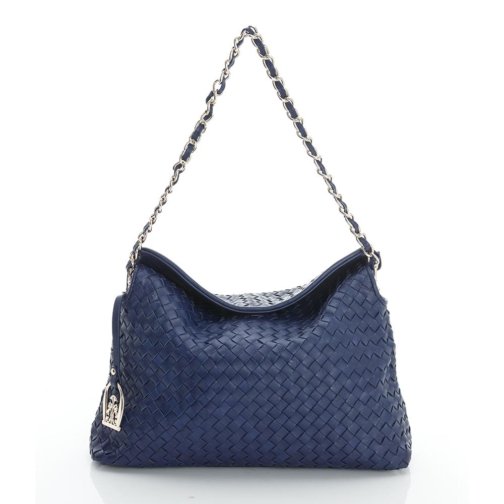 LouiseC. 羊皮編織掀蓋式磁釦小包-藍色-05L05-0030A09