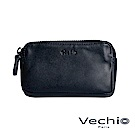 VECHIO-紳士商務款II-經典素面拉鍊厚零錢包-午夜藍