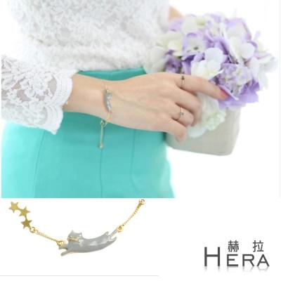 Hera 赫拉 日系萌物釉彩小貓咪星星手鍊(金色)