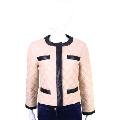 MOSCHINO 粉色菱格車縫羽絨外套