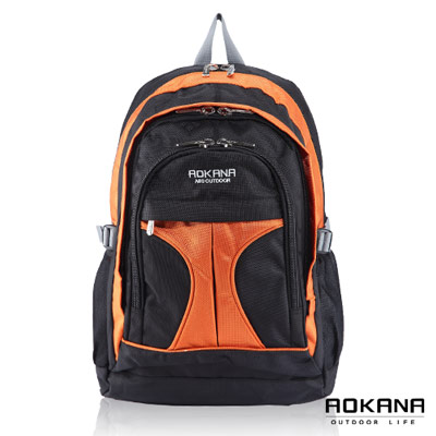 AOKANA奧卡納 - 輕量防潑水護脊後背包68-044 - 橘/黑
