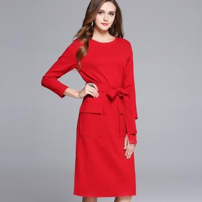 a la mode 艾拉摩兒 剪裁口袋紅色八分袖綁帶收腰洋裝(S-2XL)