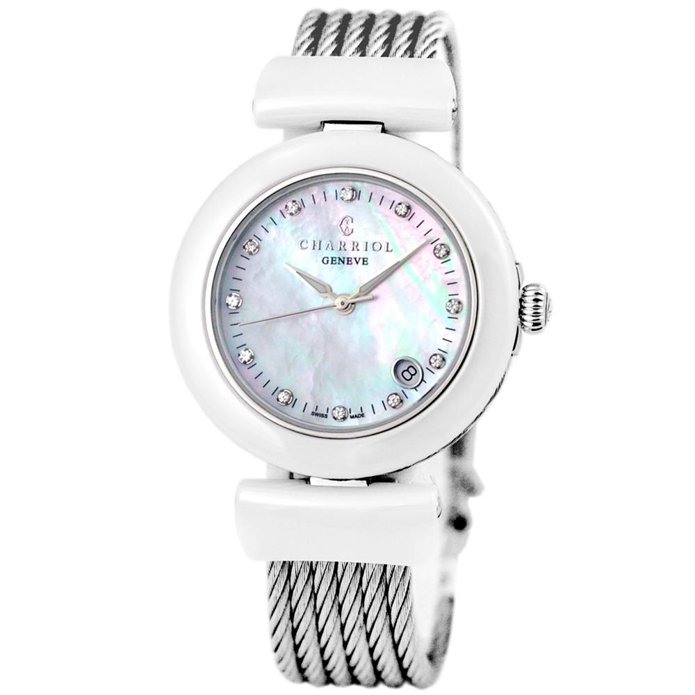 CHARRIOL 夏利豪晶鑽銀色羅馬珍珠白鎖鍊錶-24.5mm