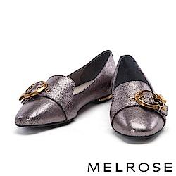 平底鞋 MELROSE 金屬星星圓釦啞光牛皮尖頭平底鞋-古銅