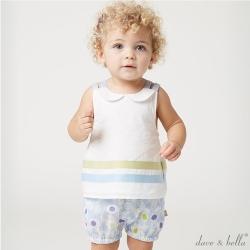 Dave Bella 白底淡藍條紋無袖套裝2件組