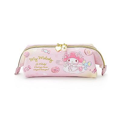 Sanrio 美樂蒂大開口PU皮革筆袋/化妝包(幻彩甜點)